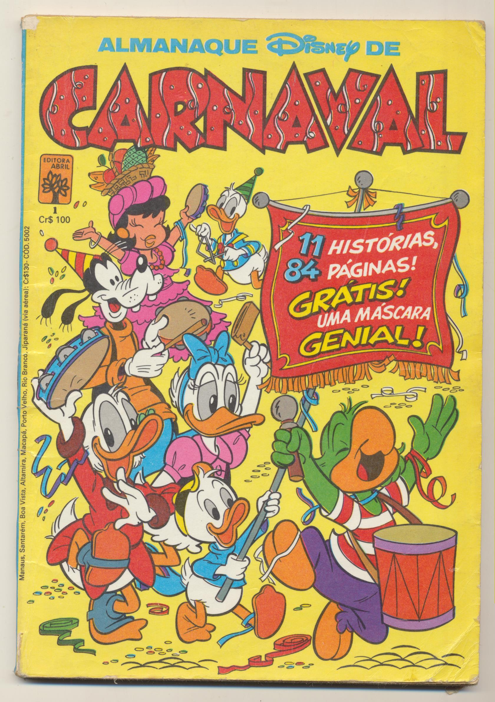 Almanaque Disney de Carnaval nº 1. Sao Paulo. 19x13. 82 paginas color